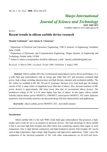 Recent trends in silicon carbide device research - Maejo ...