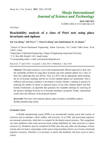 Reachability analysis of a class of Petri nets using place invariants ...