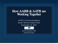 How AABB & AATB are Working Together - American Association of ...