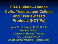 FDA Update—Human Cells, Tissues, and Cellular and Tissue ...