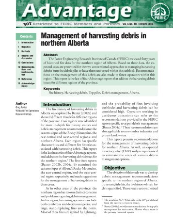 Report: Management of harvesting debris in northern Alberta
