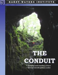 THE CONDUIT THE CONDUIT - Karst Waters Institute