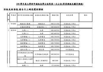 ※抵免核准後,請自行上網退選該課程 - 台灣科技大學機械工程系