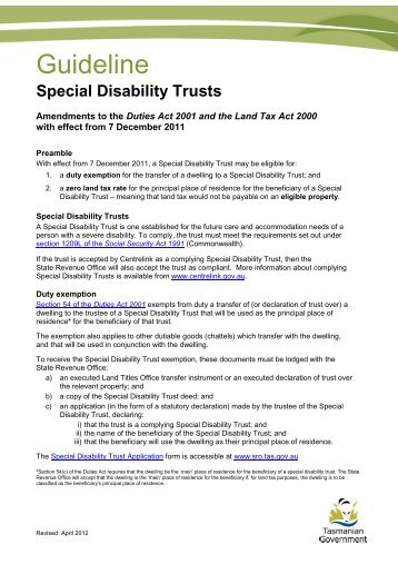 Special Disability Trust Exemption Guideline - State Revenue Office