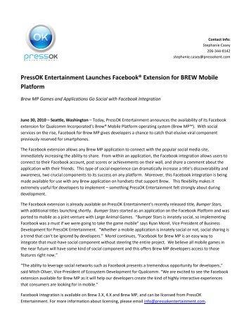 PressOK Entertainment Launches Facebook® Connect ... - Uplinq