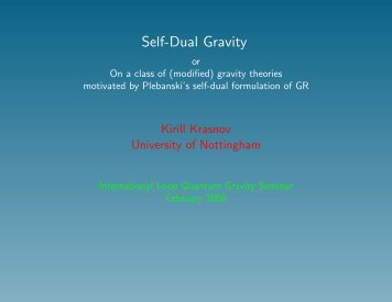Self-Dual Gravity - Relativity Group