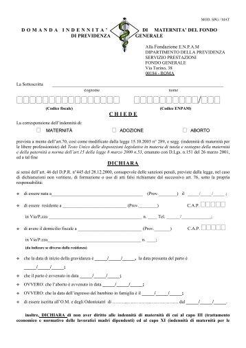 EMPAM - Domanda indennità maternità - Ordine dei Medici