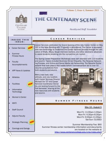 June 2011 Faculty Staff Newsletter - Centenary College