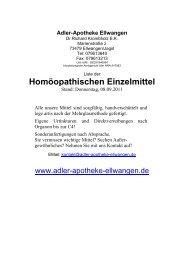 Homöopathischen Einzelmittel - Adler Apotheke, Ellwangen