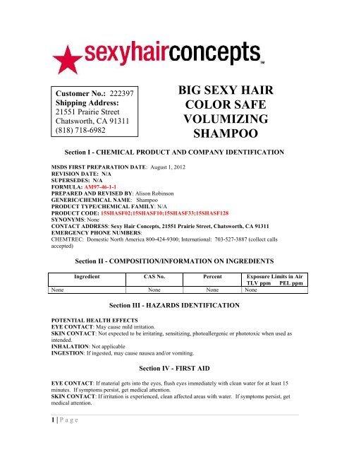 Color Safe Volumizing Shampoo Pdf Material Safety Data Sheets