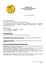 Compte-rendu du Conseil d'Administration du 7 ... - Ville de Nancy