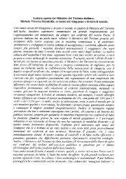 Lettera aperta del Ministro del Turismo italiano, Michela Vittoria - Ansa