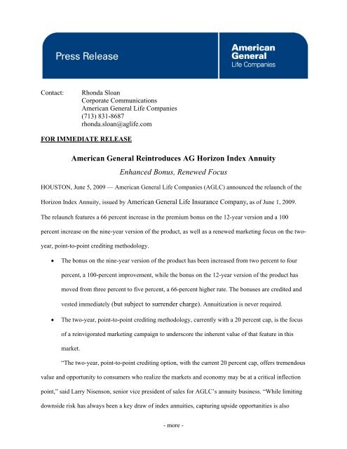 American General Reintroduces AG Horizon Index Annuity
