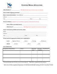 Eventing Medal Program Application