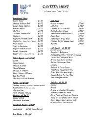 Canteen Menu and Price List - Brisbane State High School