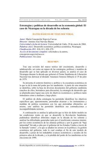 Estrategias y políticas de desarrollo en la economía global: El caso ...