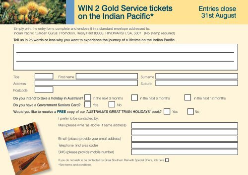 WIN 2 Gold Service tickets on the Indian Pacific* - The
