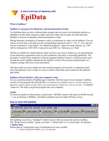 2.2 TÉLÉCHARGER EPIDATA ANALYSIS