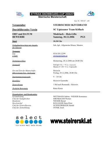 STYRIAN SNOWBOARD-CUP 2006/07 Steirische Meisterschaft ...
