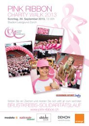Flyer Pink Ribbon Charity Walk 2013 - Stadion Letzigrund