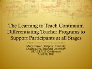 The Learning to Teach Continuum Differentiating Teacher ... - StarTalk