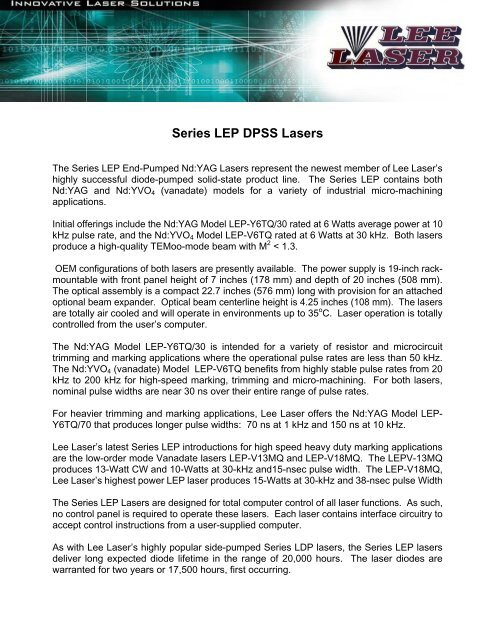 Series LEP DPSS Lasers - Lee Laser, Inc