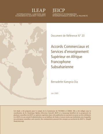 Accords Commerciaux et Services d'enseignement ... - ILEAP