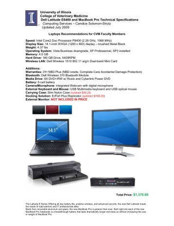 Dell Latitude D610 Technical Specifications - University of Illinois ...