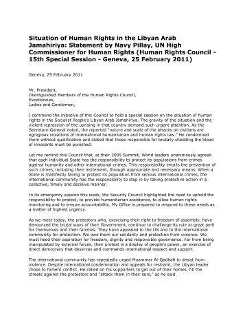 Situation of Human Rights in the Libyan Arab Jamahiriya: Statement ...