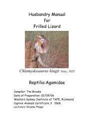 Husbandry Manual for Frilled Lizard ... - Nswfmpa.org