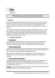 Procédure pour les simultanés mondiaux - Fédération Suisse de ...