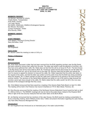 MINUTES MOHAVE COUNTY PUBLIC LAND USE COMMITTEE ...