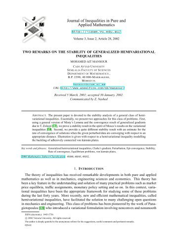 Two Remarks on the Stability of Generalized Hemivariational ... - EMIS