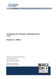 Grundlagen der Planungs- und Bauökonomie Teil 2 Modul K+T_BÖK-I