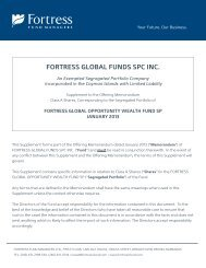 FORTRESS GLOBAL FUNDS SPC INC. - Fortress Mutual Fund Ltd