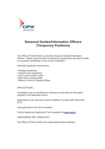 Seasonal Guides/Information Officers - Careers Development Centre