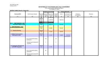 Physical Report of Operations FY 2012 - DILG Regional Office No. 5