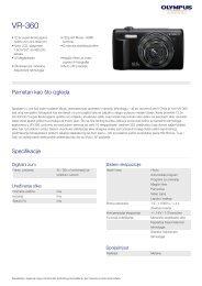 Informacije o proizvodu - Olympus