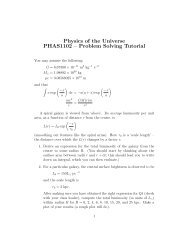 Physics of the Universe PHAS1102 – Problem Solving Tutorial