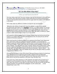 Q3: Can Man Make A Day Holy? - Rhm-Net.org