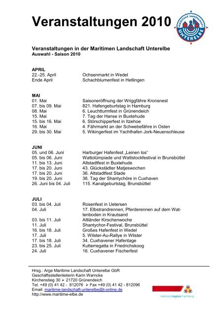 Veranstaltungen 2010 chronologisch - Maritime Landschaft Unterelbe