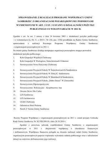 sprawozdanie z realizacji programu współpracy gminy samborzec z ...