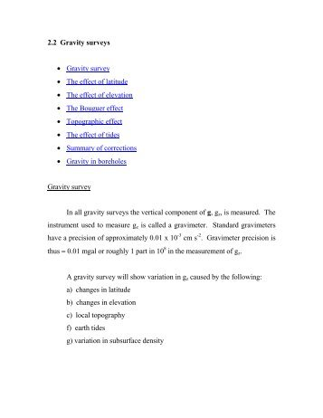 2.2 Gravity surveys • Gravity survey • The effect of latitude • The ...
