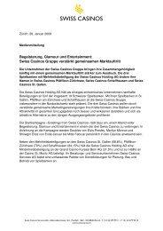 Swiss Casinos Gruppe verstärkt gemeinsamen Marktauftritt