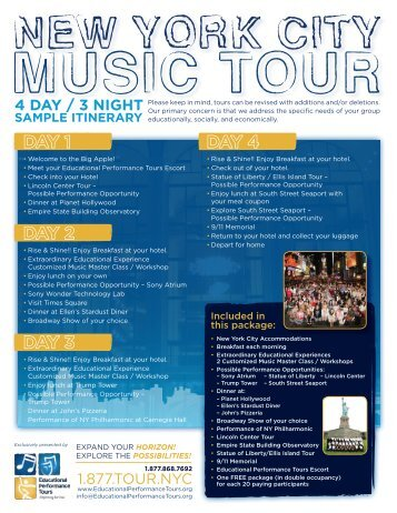 Sample NYC Music Tour - Educational Performance Tours