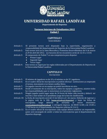 REGLAMENTO FUTBOL 7 - Universidad Rafael Landívar