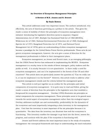 An Overview of Ecosystem Management Principles A Review of M.E. ...