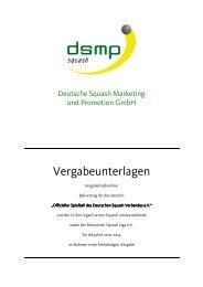 Ausschreibung - Deutsche Squash Marketing & Promotion Gmbh