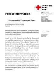 Presseinformation Blutspende DRK-Frauenverein Eisern