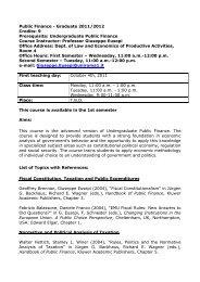 Public Finance - Graduate 2011/2012 Credits: 9 Prerequisite ...